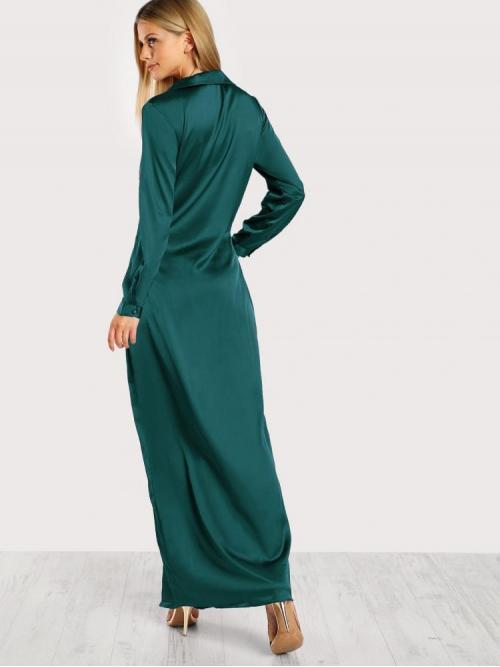 Pretty Dark Green Plain Wrap Deep V Neck Twist Front Split Surplice Shirt Dress