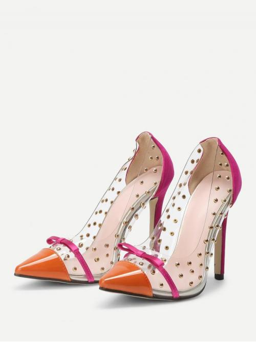 Corduroy Multicolor Court Pumps Studded Stud Decorated Clear Heels Affordable