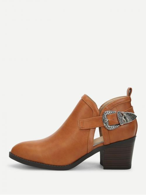 Fashion Polyester Brown Stretch Boots Tassel Side Buckle Pointed Toe Heeled Boots