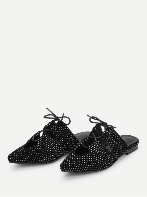Polyester Black Mules Hollow Pattern Flat on Sale