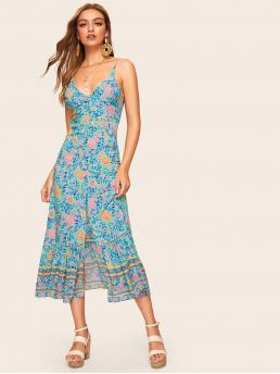 Boho Cami Floral and Tribal Regular Fit Spaghetti Strap Sleeveless High Waist Blue Long Length Contrast Crochet Floral Print Button Front Cami Dress