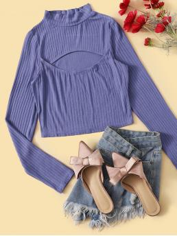 Sexy Plain Slim Fit Stand Collar Long Sleeve Pullovers Purple Crop Length Mock Neck Cutout Front Rib-knit Top