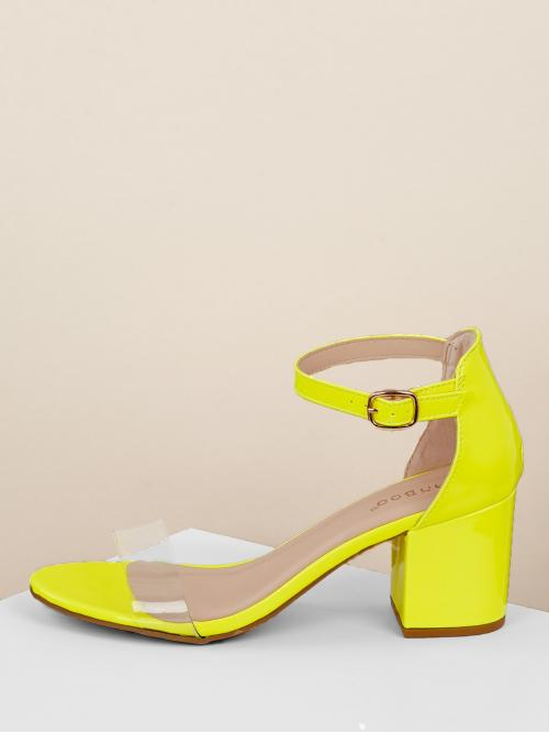 Glamorous Open Toe Ankle strap Neon and Yellow Chunky Clear Band Neon Low Heel Ankle Strap Sandals