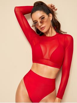 Casual Sets Plain Triangle Halter Top and V neck Red Triangle Halter 3 Piece Co-ord Bikini Set with Lining