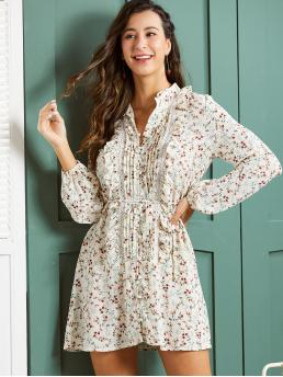 Boho Shirt Ditsy Floral Straight Loose Stand Collar Long Sleeve Bishop Sleeve Natural Multicolor Short Length SBetro Ditsy Floral Print Lace and Pleated Detail Shirt Dress with Belt