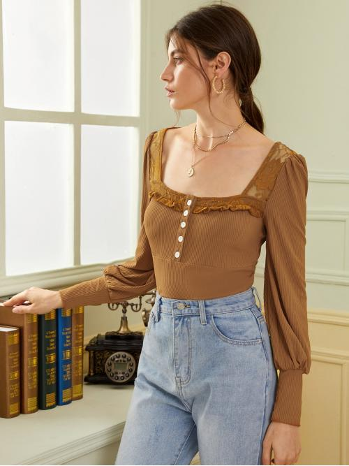 Casual Plain Slim Fit Square Neck Long Sleeve Puff Sleeve Pullovers Khaki Regular Length Square Neck Contrast Lace Ribbed Tee