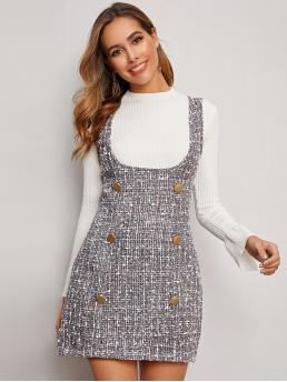 Preppy Pinafore Plaid Pencil Slim Fit Straps Sleeveless Natural Grey Mini Length Double Button Tweed Overall Dress