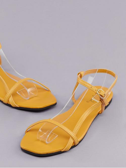Comfort Plain Yellow Ankle Strap Off Center Open Toe Sandals