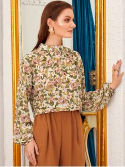 Boho Floral and All Over Print Top Regular Fit Stand Collar Long Sleeve Bishop Sleeve Pullovers Multicolor Regular Length Floral Print Keyhole Back Blouse