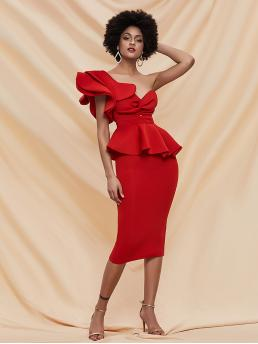 Red Plain Exaggerated Ruffle One Shoulder Front Exaggerated Peplum Dress Shopping
