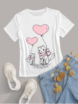 Casual Cartoon and Heart Regular Fit Round Neck Short Sleeve Regular Sleeve Pullovers White Regular Length Heart & Cartoon Graphic Tee