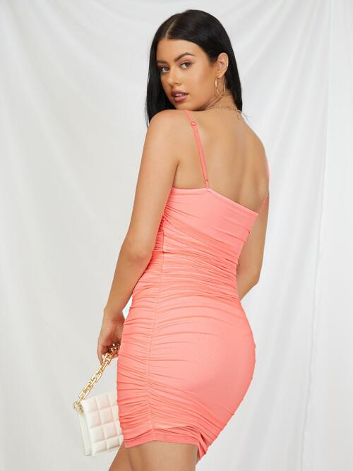 Coral Pink Plain Ruched Spaghetti Strap Lace Trim Bow Front Cami Dress Pretty