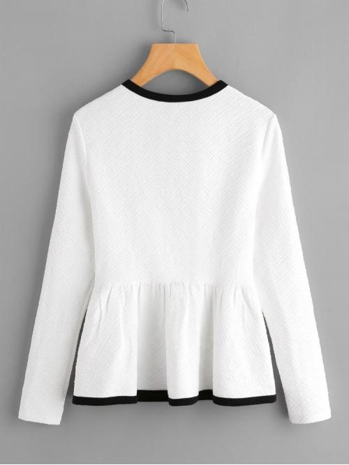 Affordable Long Sleeve Peplum Contrast Binding Polyester Textured Top