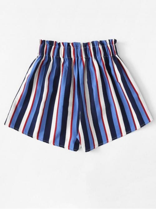 Clearance Multicolor Natural Waist Frill Wide Leg Trim Shorts