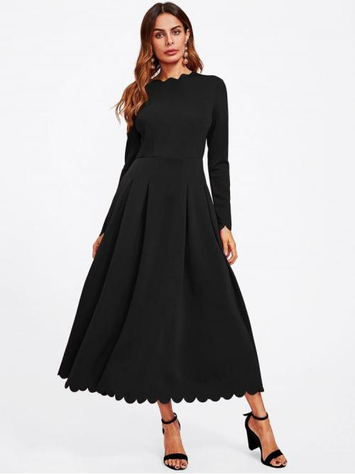 Black Plain Scallop Round Neck Trim Box Pleat Flowy Dress Discount