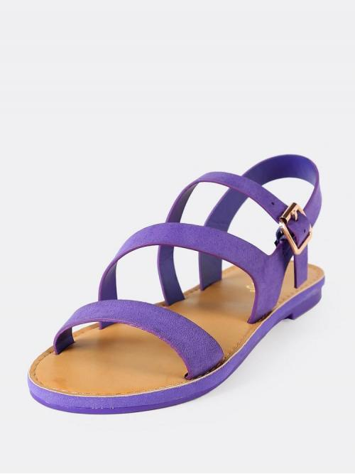 Corduroy Purple Gladiator Sandals Pearls Asymmetrical Faux Ankle Flat Sandal on Sale