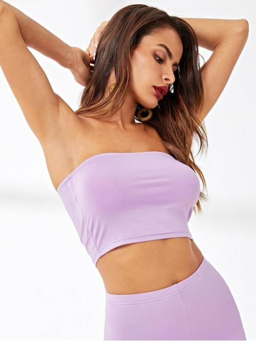 Long Sleeve Cami Rib-knit Velvet Solid Bandeau Top on Sale