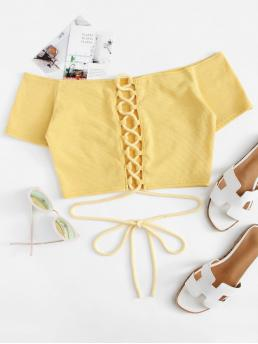 Clearance Short Sleeve Cami Lace up Polyester Top