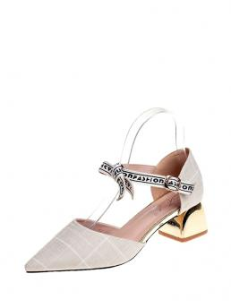Clearance Polyester Beige Court Pumps Bow Detail Block Heels