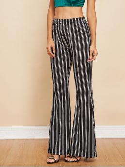Elegant Striped Flare Leg Regular Elastic Waist Mid Waist Black and White Long Length Elastic Waist Striped Flare Pants