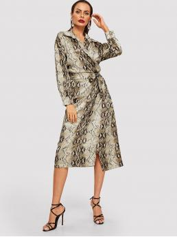 Glamorous Animal Wrap Loose Collar Long Sleeve Natural Multicolor Long Length Snake Print Wrap Belted Dress with Belt