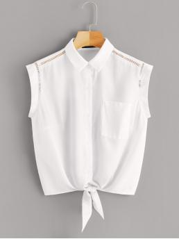 Casual Plain Shirt Regular Fit Collar Cap Sleeve Placket White Regular Length Tie Front Pocket Patched Lace Insert Shirt