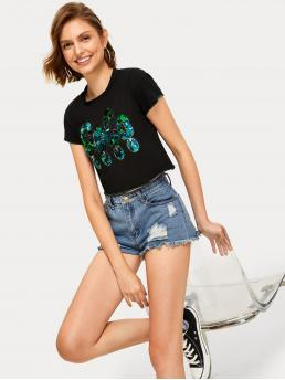 Casual Regular Fit Round Neck Short Sleeve Pullovers Black Crop Length Contrast Sequin Tee