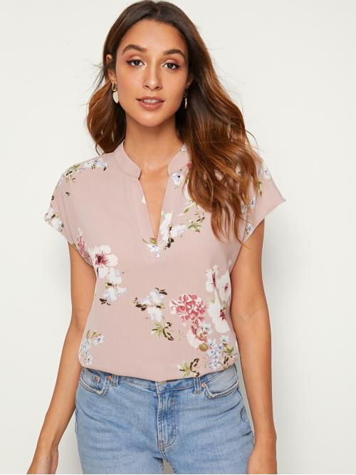 Casual Floral Asymmetrical Top Regular Fit Notched Cap Sleeve Regular Sleeve Pullovers Pink and Pastel Regular Length Notch Neck Floral Print Batwing Sleeve Top