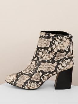 Glamorous Other Snakeskin Print Back zipper Black High Heel Chunky Snake Print Almond Toe Chunky Heel Booties
