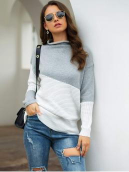 Womens Long Sleeve Pullovers Acrylic Colorblock Two Tone Mock Neck Sweater