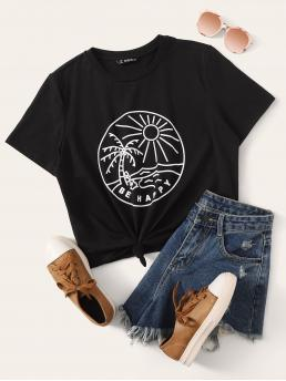 Casual Graphic and Slogan Regular Fit Round Neck Short Sleeve Regular Sleeve Pullovers Black Regular Length Graphic Print Tee