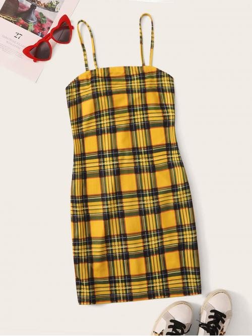 Casual Bodycon Tartan Pencil Slim Fit Spaghetti Strap Sleeveless Natural Yellow Short Length Zip Back Tartan Cami Dress