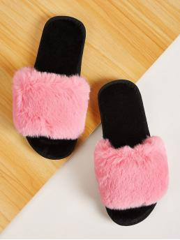 Comfort Plain Pink Open Toe Fluffy Slippers