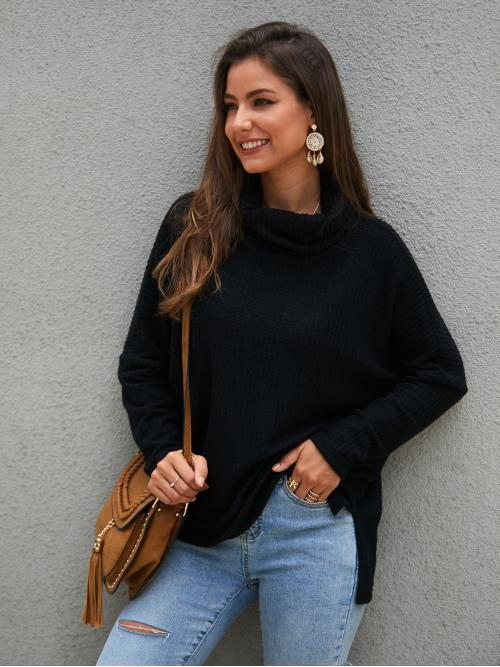 Casual Plain Regular Fit High Neck Long Sleeve Regular Sleeve Pullovers Black Regular Length High Neck Split Hem Solid Sweater