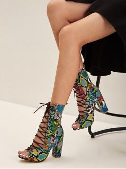 Glamorous Open Toe Snakeskin Print Lace Up Multicolor High Heel Chunky Snakeskin Print Lace-up Front Chunky Heels