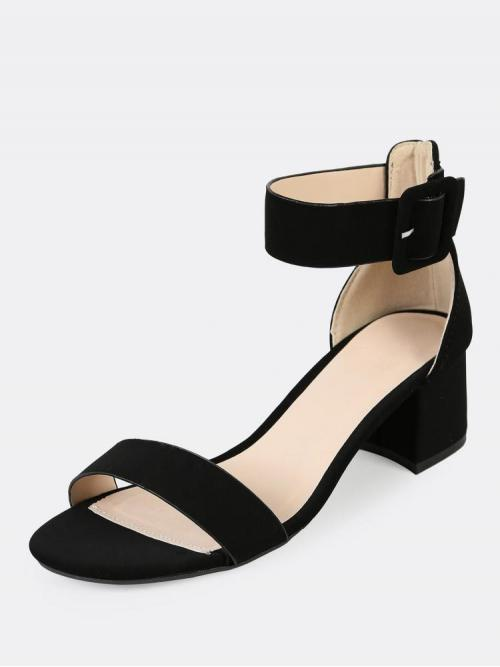 Corduroy Black Court Pumps Cut out Thick Ankle One Band Low Heels Ladies