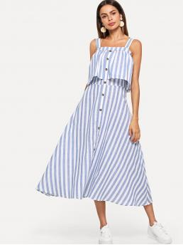 Boho Cami Striped Flared Regular Fit Straps Sleeveless Natural Blue Maxi Length Button Through Striped Flounce Midi Dress