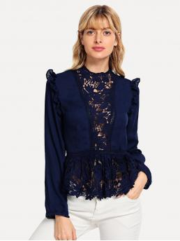 Casual Floral Top Slim Fit Stand Collar Long Sleeve Placket Navy Regular Length Frilled Shoulder Lace Insert Peplum Top