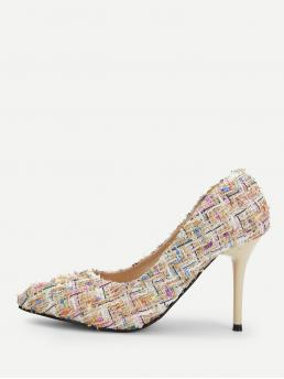 Court Point Toe Multicolor High Heel Stiletto Tweed Stiletto Heels