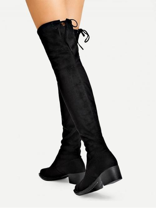 Corduroy Black Stretch Boots Pearls over the Knee Boots Affordable