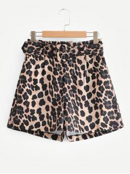 Casual Leopard Straight Leg Regular Mid Waist Multicolor Self Tie Leopard Print Shorts with Belt