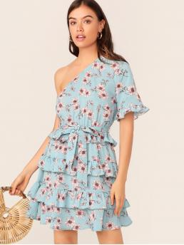 Boho Tunic Floral Layered/Tiered Regular Fit One Shoulder Short Sleeve Flounce Sleeve Natural Blue Short Length One Shoulder Ruffle Trim Floral Print Layered Hem Dress with Belt