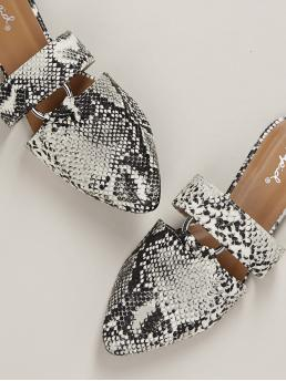 Comfort Point Toe Snakeskin Print Multicolor Ring Cut Out Snakeskin Pointed Toe Slide Mules