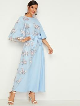 Elegant A Line Floral Flared Regular Fit Round Neck Three Quarter Length Sleeve Flounce Sleeve High Waist Blue Maxi Length Embroidered Mesh Bell Sleeve Belted Dress with Belt