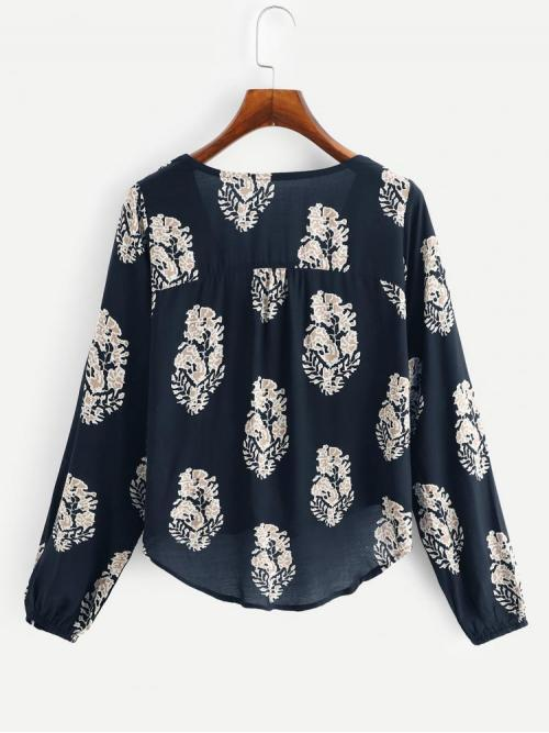 Long Sleeve Top Fringe Rayon High Low Blouse Pretty