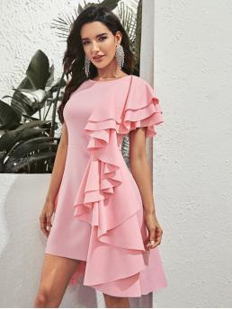 Glamorous Fitted Plain Asymmetrical Regular Fit Round Neck Short Sleeve Layered Sleeve High Waist Pink and Pastel Short Length Solid Exaggerated Ruffle Layered Dress