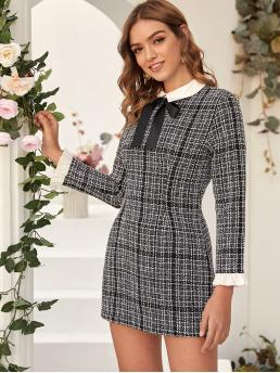 Elegant Fitted Plaid Pencil Regular Fit Peter Pan Collar Long Sleeve Flounce Sleeve Natural Black Short Length Contrast Collar Tie Front Tweed Fitted Dress
