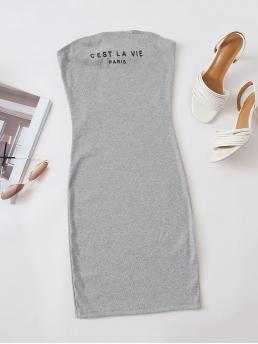 Casual Bodycon Slogan Pencil Slim Fit Strapless Sleeveless Natural Light Grey Short Length Slogan Graphic Tube Bodycon Dress