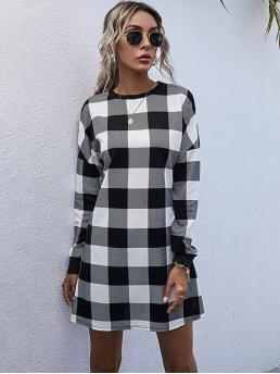 Black and White Gingham Round Neck Short Buffalo Plaid Mini Dress Shopping