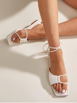 White Gladiator Sandals Cut out Flat Ruched Tie Leg Sandals Clearance